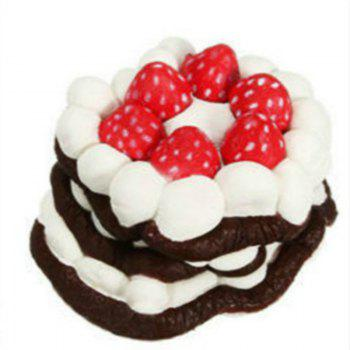 Funny Squishy Toy Made By Enviromental PU Material Replica Three-tiered Strawberry Cake for Different Age Group -  BROWN