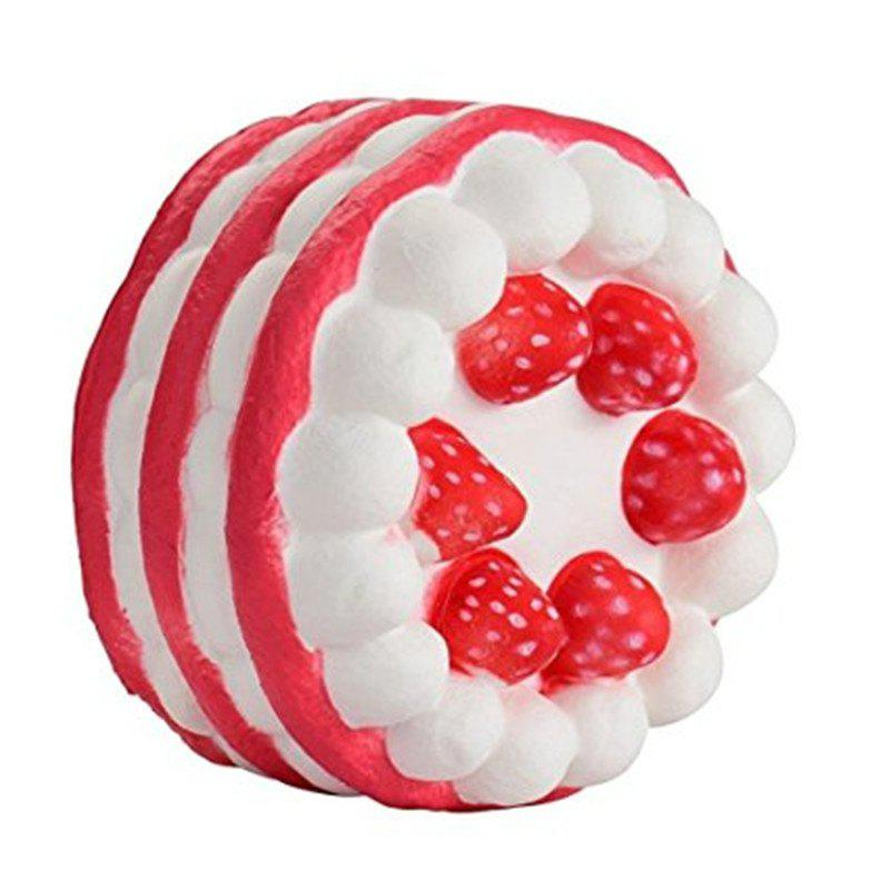 Funny Squishy Toy Made By Enviromental PU Material Replica Three-tiered Strawberry Cake for Different Age Group - RED