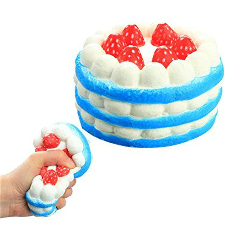 Funny Squishy Toy Made By Enviromental PU Material Replica Three-tiered Strawberry Cake for Different Age Group - BLUE