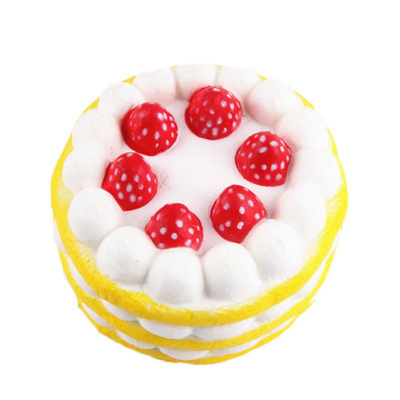 Funny Squishy Toy Made By Enviromental PU Material Replica Three-tiered Strawberry Cake for Different Age Group - YELLOW