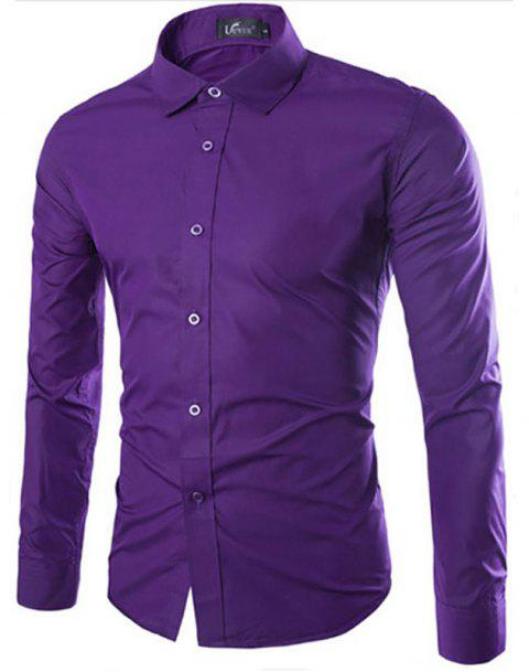 Men's Solid Color Fashion Candy Color Men'S Casual Long-Sleeved Shirt - PURPLE 3XL