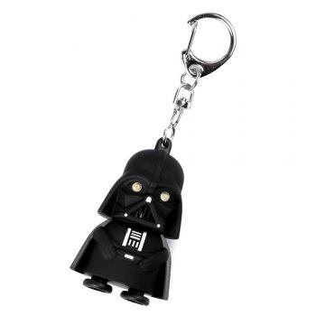 Creative Star Wars Black Warrior Cartoon LED Luminous Sound Key Chain Pendant -  BLACK