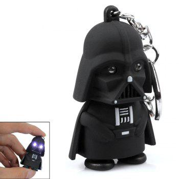 Creative Star Wars Black Warrior Cartoon LED Luminous Sound Key Chain Pendant - BLACK BLACK