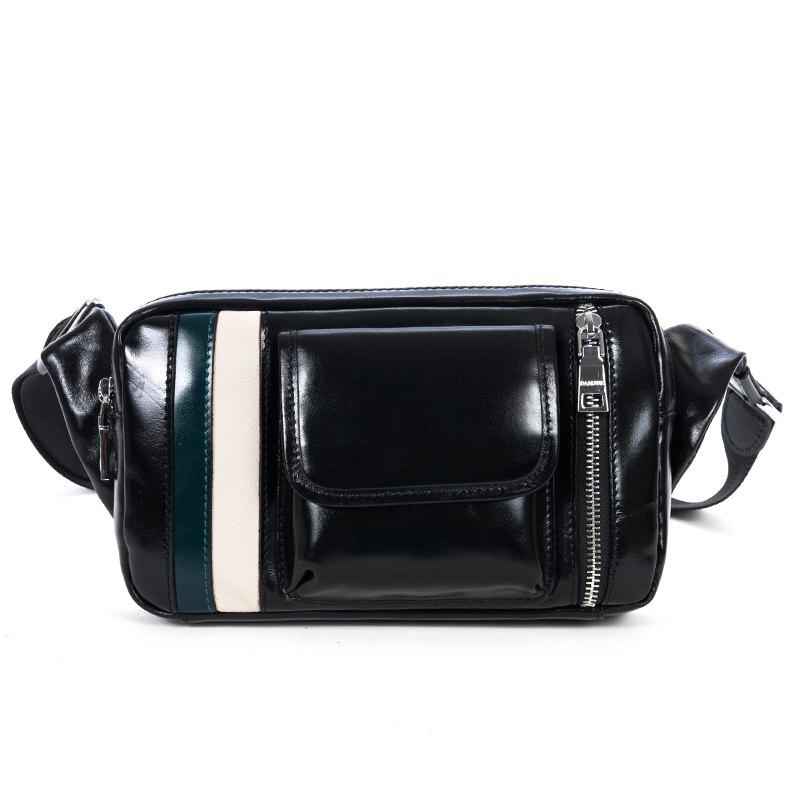 DANJUE Genuine Leather Men'S Waist Bag Patchwork Men Packs Belt Phone Bag Oil Wax Leather Men Travel Bag Male Bag - BLACK