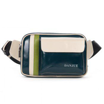 DANJUE Genuine Leather Men Waist Bag Waist Pack Passport Wallet Fanny Pack Money Belt Bag Phone Pouch Shoulder Bum Bag - BLUE BLUE
