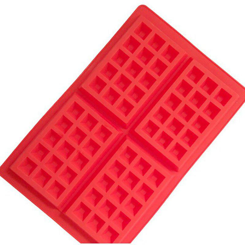 DIHE Silica Gel Waffle Cake Baking Mold Rectangle 4 Grid - RED