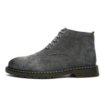 Men's Casual  Leather Soft Cowhide Retro Martin Boots - GRAY 45