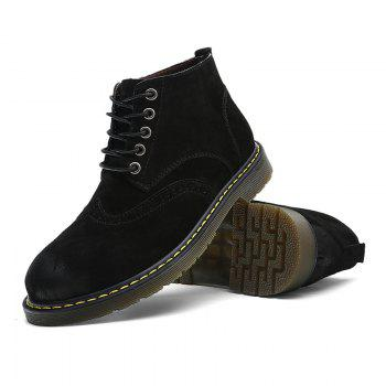 Men's Casual  Leather Soft Cowhide Retro Martin Boots - BLACK 43