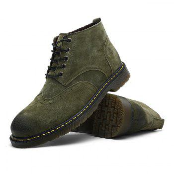 Men's Casual  Leather Soft Cowhide Retro Martin Boots - GREEN 46