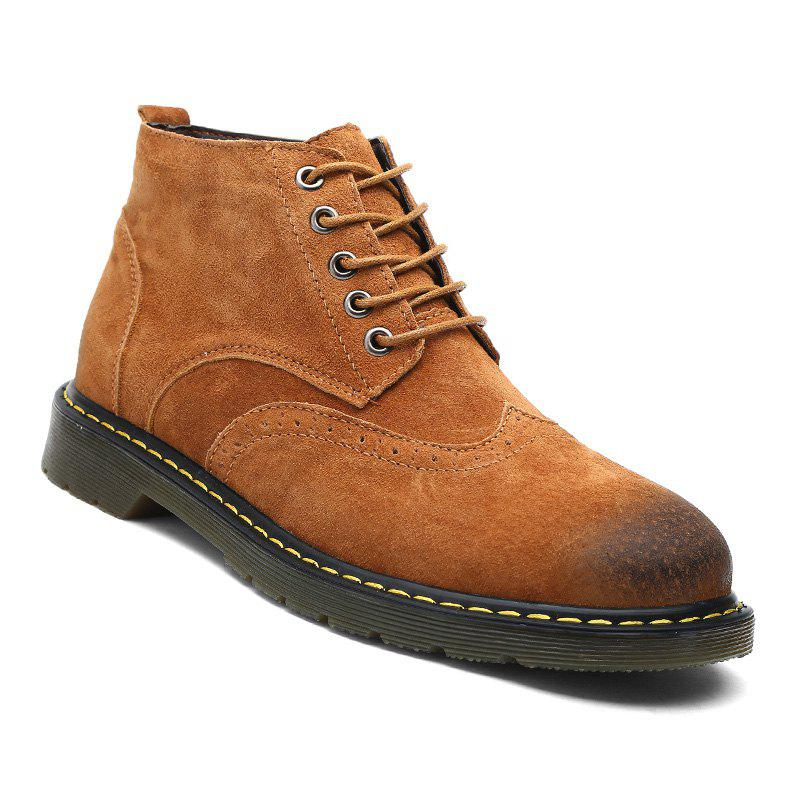 Men's Casual  Leather Soft Cowhide Retro Martin Boots - BROWN 46