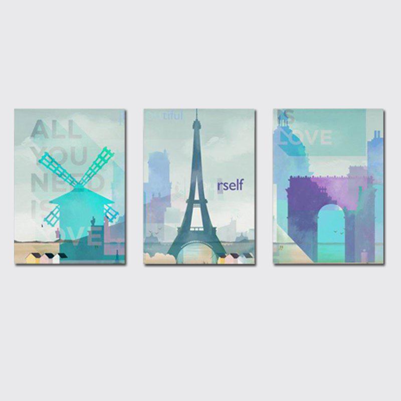 QiaoJiaHuaYuan No Frame Canvas Sanlian Painting Small and Fresh Living Room Sofa Background Decoration Hanging Painting - COLORMIX