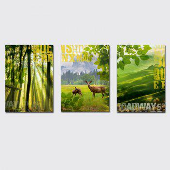 QiaoJiaHuaYuan No Frame Canvas Three Pieces of The Living Room Sofa Background Decorated With Green Forest Scenery - COLORMIX COLORMIX