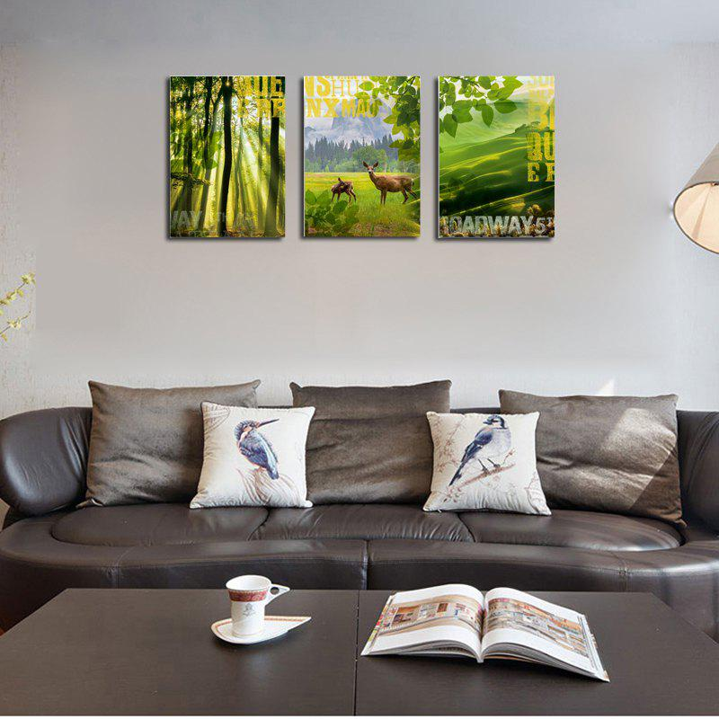 QiaoJiaHuaYuan No Frame Canvas Three Pieces of The Living Room Sofa Background Decorated With Green Forest Scenery - COLORMIX
