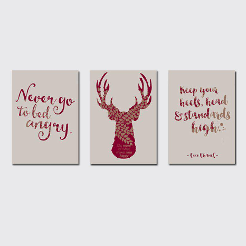 QiaoJiaHuaYuan No Frame Canvas Tree a Picture of the Living Room Sofa English Letter elk Print - COLORMIX