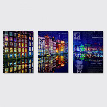 QiaoJiaHuaYuan No Frame Canvas Living Room Bedroom Background Abstract City Night View Decoration Print - COLORMIX COLORMIX