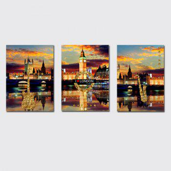 QiaoJiaHuaYuan No Frame Canvas Three Pieces of The Living Room Bedroom Background Decorated With the Night View of The - COLORMIX COLORMIX