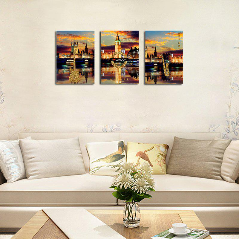 QiaoJiaHuaYuan No Frame Canvas Three Pieces of The Living Room Bedroom Background Decorated With the Night View of The - COLORMIX