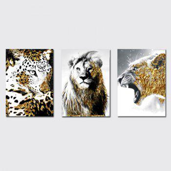 QiaoJiaHuaYuan No Frame Canvas Three - Piece Living Room Sofa Background Decoration Hanging Painting Animal Tiger Lion - COLORMIX COLORMIX