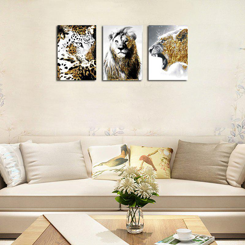 QiaoJiaHuaYuan No Frame Canvas Three - Piece Living Room Sofa Background Decoration Hanging Painting Animal Tiger Lion - COLORMIX