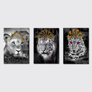 QiaoJiaHuaYuan No Frame Canvas Living Room Bedroom Triplets Wearing the Crown of Animals Decorated Hanging Pictures - COLORMIX COLORMIX