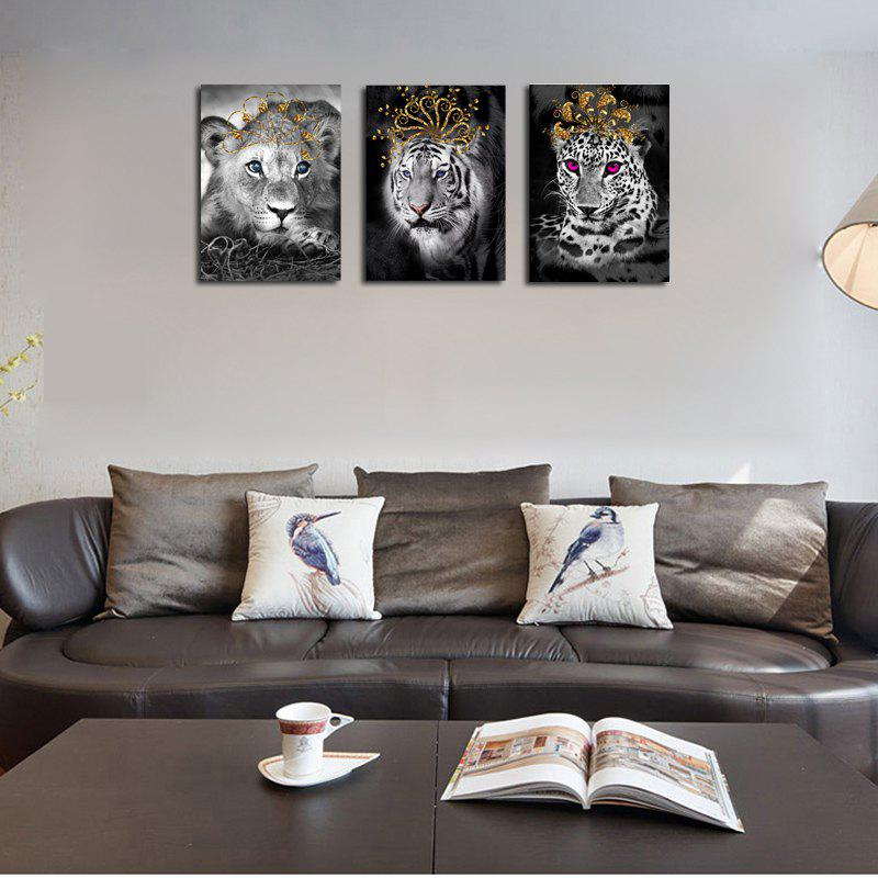 QiaoJiaHuaYuan No Frame Canvas Living Room Bedroom Triplets Wearing the Crown of Animals Decorated Hanging Pictures - COLORMIX