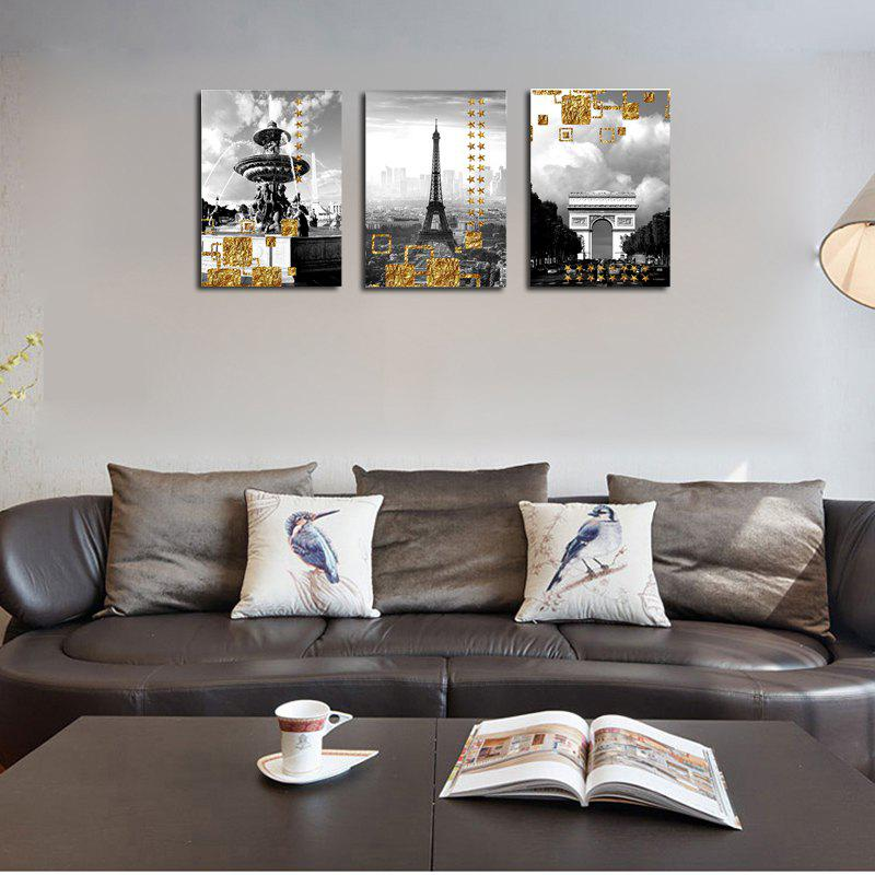 QiaoJiaHuaYuan No Frame Canvas Living Room Three Pieces of Sofa Background Decoration Hanging Painting Building Street V - COLORMIX