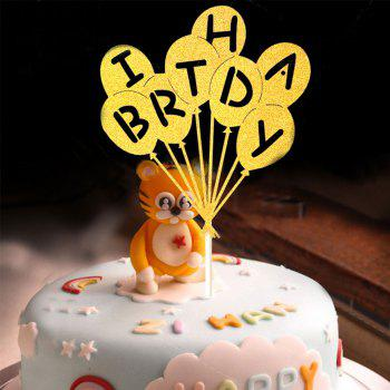Cake Topper Novel Balloons Design Letters Pattern Design Decorative - GOLDEN GOLDEN