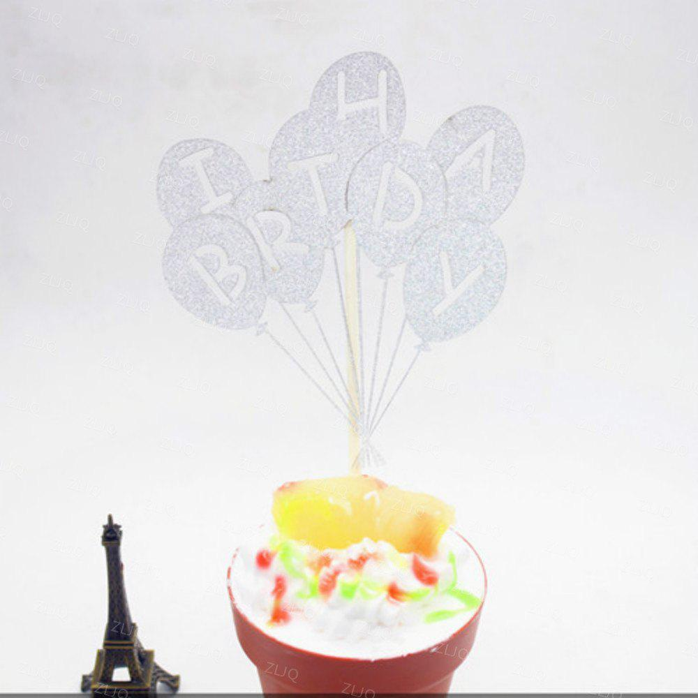 Cake Topper Novel Balloons Design Letters Pattern Design Decorative - SILVER