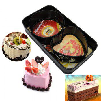 3pcs Cake Mould Set Creative Heart Round Shaped Mini Baking Tool - BLACK BLACK
