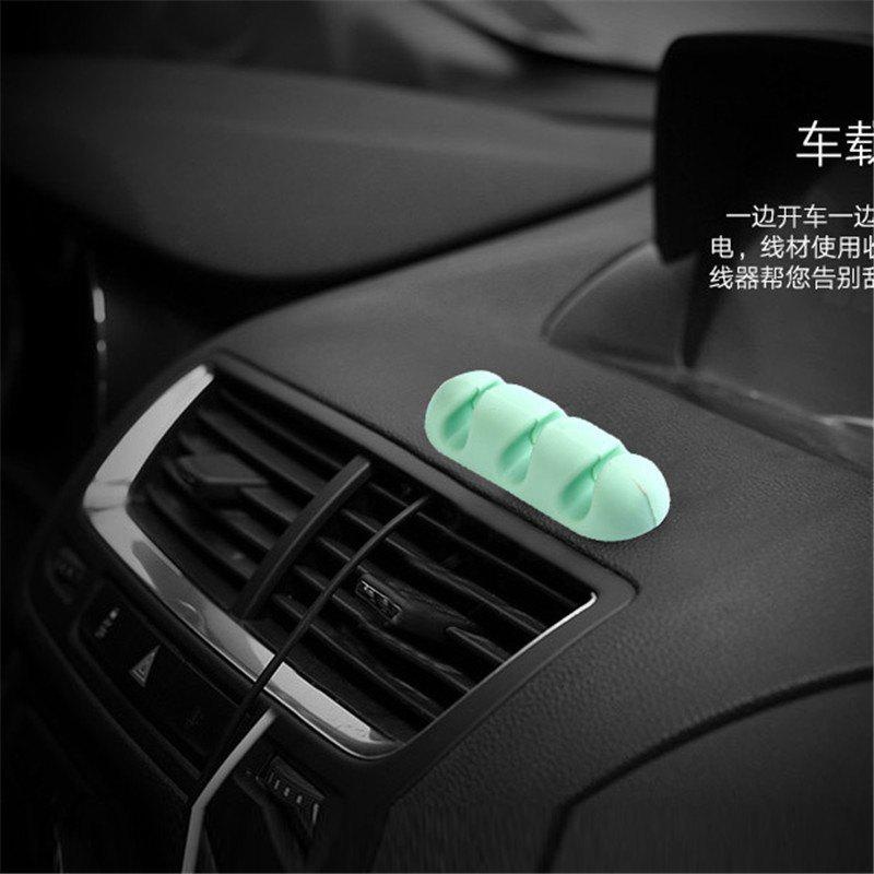2pcs Desk Cable Clips Set Multifunctional Silicone Wires Organizer - GREEN
