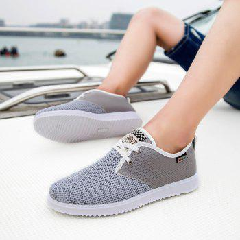 Men Casual Trend for Fashion Hiking Outdoor Sport Flat Mesh Breathable Shoes - GRAY 42