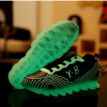 Men Casual Trend for Fashion Hiking Outdoor Sport Leather Fluorescence Shoes - BLUE 40