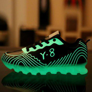 Men Casual Trend for Fashion Hiking Outdoor Sport Leather Fluorescence Shoes - BLACK 41