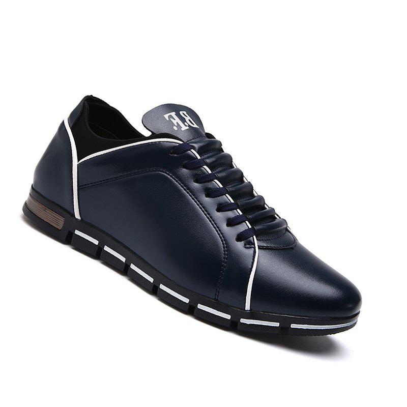 Casual Leather Spring Hiking Outdoor Shoes for Men - DEEP BLUE 42