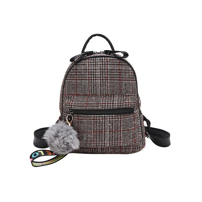 Fashion Striped Fur Ball Backpack - BROWN