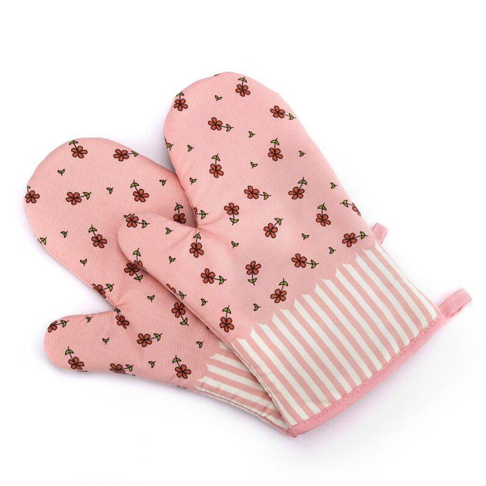 Mitt Baking Glove Heat Resistant Thick Silicon Kitchen Barbecue Oven Cooking Glove BBQ Grill Glove 1 Pcs - PINK