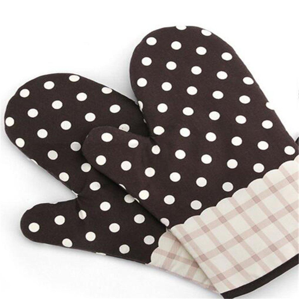 Mitt Baking Glove Heat Resistant Thick Silicon Kitchen Barbecue Oven Cooking Glove BBQ Grill Glove 1 Pcs - COFFEE