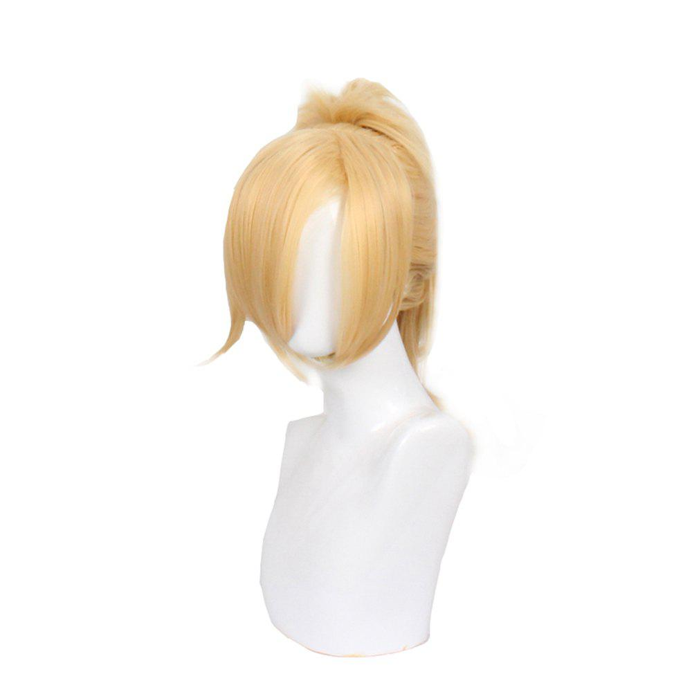 Blonde Long Straight Hair with Ponytail Synthetic Cosplay Lolita Style Capless Costume Wig - BLONDE