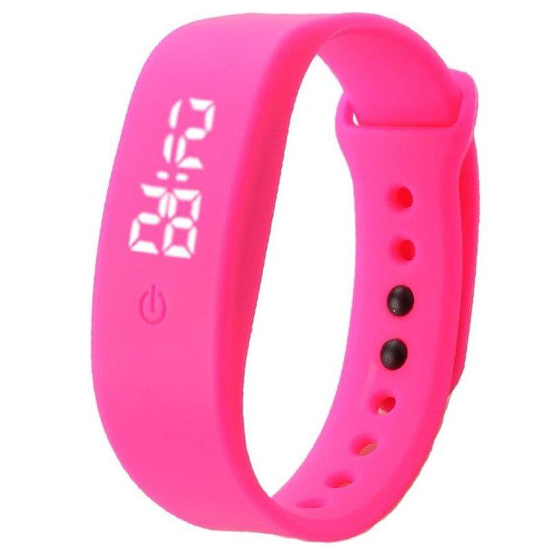 Unisex Men's Women's Rubber LED Watch Date Sports Bracelet Digital Wrist - PINK