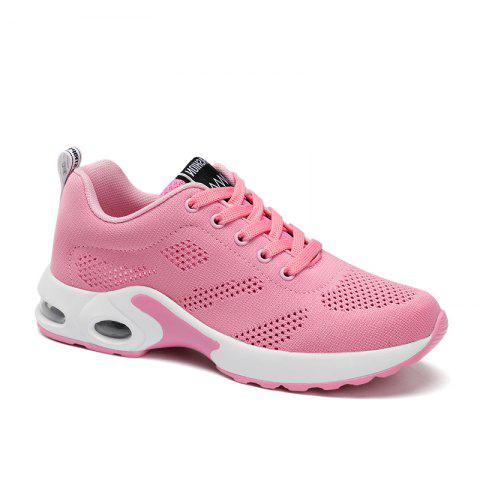 New Women Running Shoes Walking Lace Up Breathable Mesh Super Lightweight Sneakers Jogging Sports Shoes - PINK 36