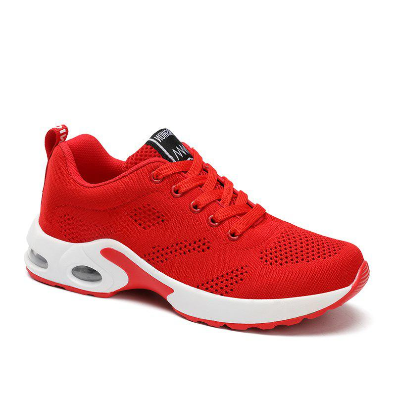 New Women Running Shoes Walking Lace Up Breathable Mesh Super Lightweight Sneakers Jogging Sports Shoes - RED 36