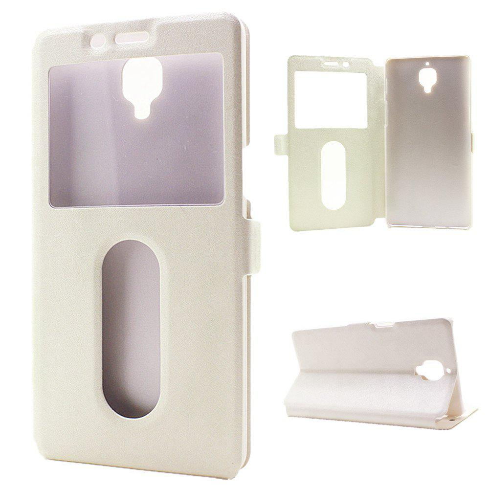 Cover Case for OnePlus 3 Slik Pattern Double Open Window Leather - WHITE