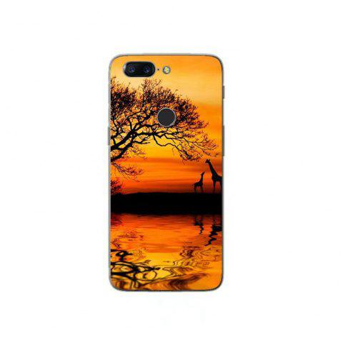 Cover Case For OnePlus 5T Fashion Printing Color Pattern Soft TPU Back Phone Case - YELLOW