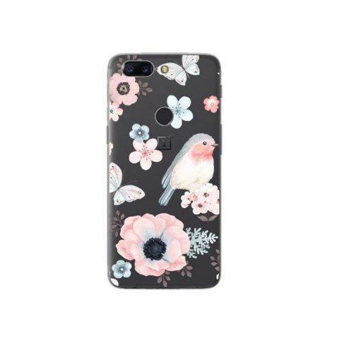 Cover Case For OnePlus 5T Fashion Printing Color Pattern Soft TPU Back Phone Case - WHITE/PINK/BLUE