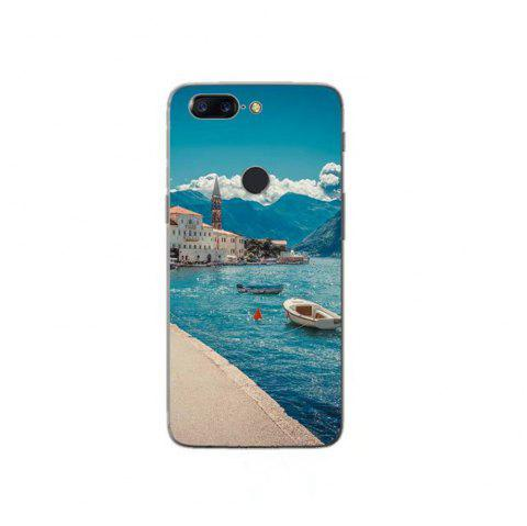 Cover Case For OnePlus 5T Fashion Printing Color Pattern Soft TPU Back Phone Case - BLUE/WHITE