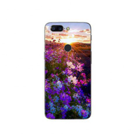 Cover Case For OnePlus 5T Fashion Printing Color Pattern Soft TPU Back Phone Case - PURPLE