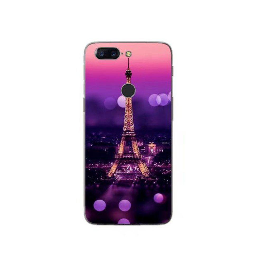 Cover Case For OnePlus 5T Fashion Printing Color Pattern Soft TPU Back Phone Case - BLACK/PURPLE