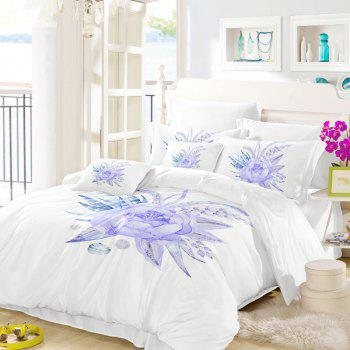 Imitation Embroidered and Painted Series Pattern Leaf Design Fresh and Comfortable High Grade Bedding set - WHITE KING