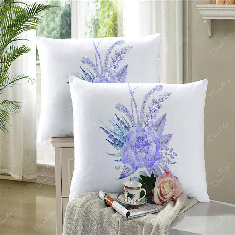 Imitation Embroidered and Painted Series Pattern Leaf Design Fresh and Comfortable High Grade Bedding set - WHITE FULL