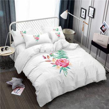 Embroidered and Painted Series Pattern Leaf Design Fresh  Comfortable High Grade Bedding - WHITE WHITE
